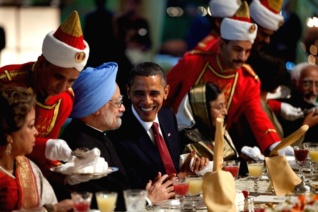 When Manmohan Singh was prime minister and Barack Obama was president at a state dinner at the Rashtrapathi Bhavan in New Delhi in 2010. - When Manmohan Singh