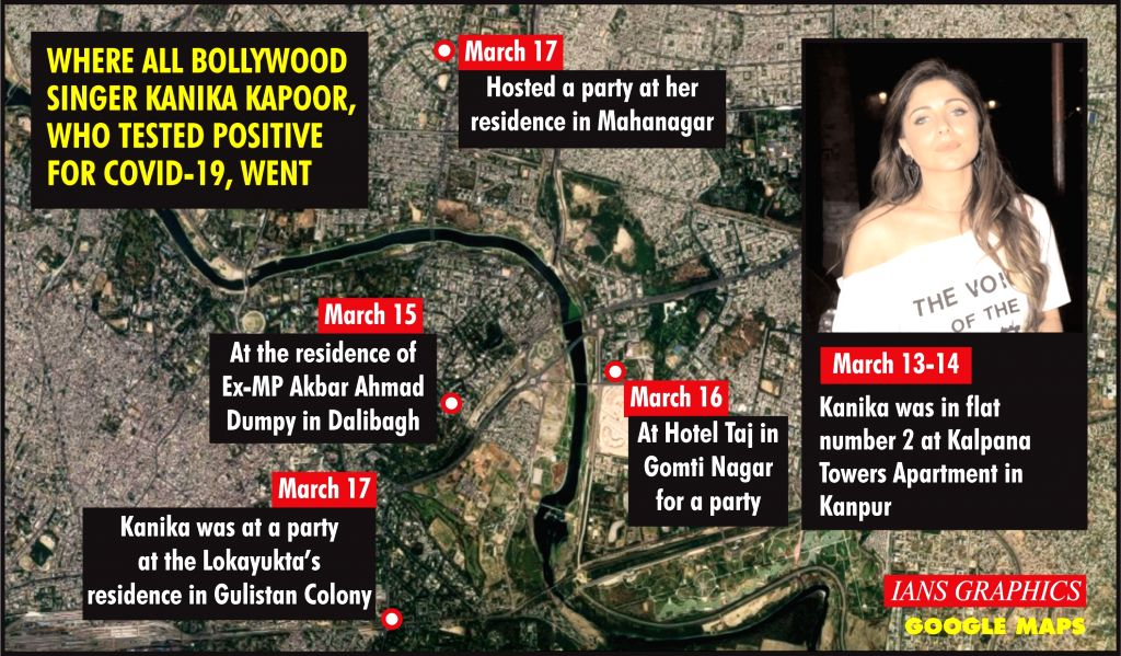 Where all Bollywood singer Kanika Kapoor, who tested positive for COVID-19, went. (IANS Infographics) - Kanika Kapoor