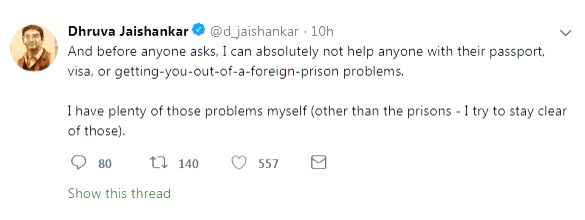 While his father Subrahmanyam Jaishankar was just appointed as the Foreign Minister in new Modi government, Dhruva Jaishankar attracted eyeballs with his reply on a tweet seeking help with a passport or visa.
