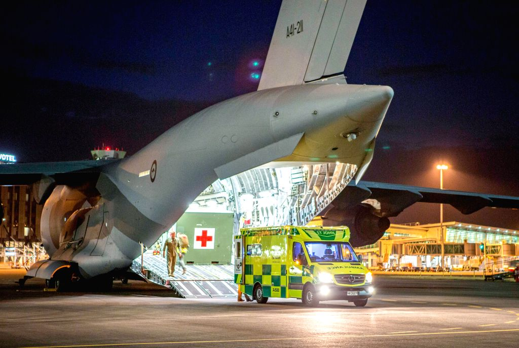 WHITE ISLAND, Dec. 13, 2019 - A Royal Australian Air Force C-17A Globemaster prepares to repatriate Australians injured during the White Island Volcanic eruption in New Zealand, Dec. 11, 2019. The ...