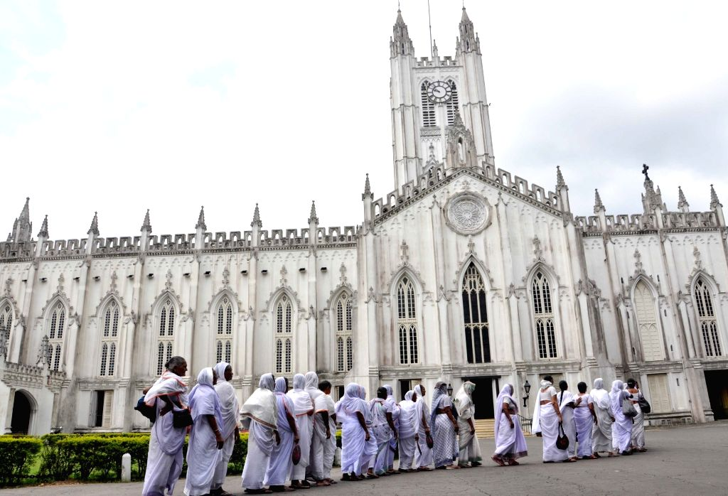 Widows from Vrindavan visit St Paul's Cathedral on International Widow's Day 2016 in Kolkata, on June 23, 2016.