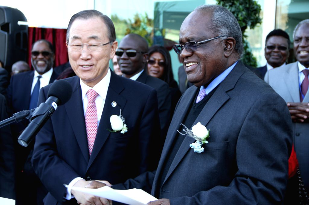 WINDHOEK, 24 June 2014 - President Hifikepunye Pohamba (right) shakes hands with the United Nations\' Secretary-General Ban Ki-Moon after he commissioned and handed over the UN House in Klein ...