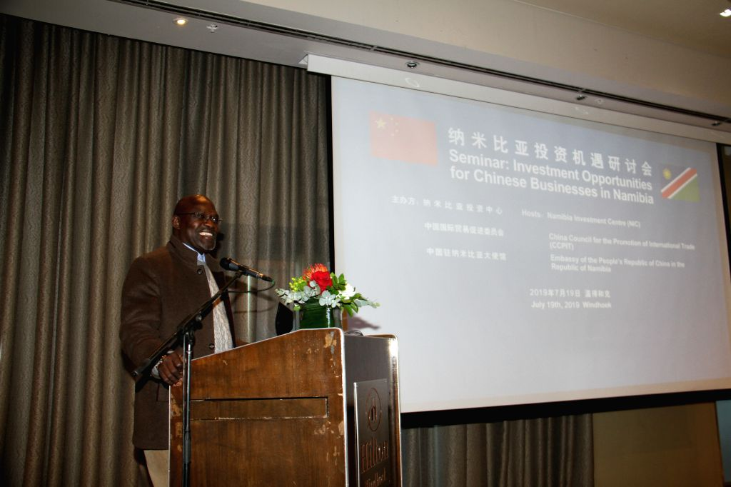 WINDHOEK, July 19, 2019 - Namibia's Trade Minister Tjekero Tweya delivers a speech at a seminar on investment opportunities for Chinese businesses in Namibia, in Windhoek, Namibia, on July 19, 2019. ... - Tjekero Tweya