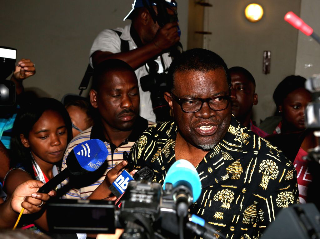 Windhoek (Namibia): Ruling Swapo party's Presidential Candidate, Prime Minister Hage Geingob speaks to the media before casting his vote at a polling station in Windhoek, capital of Namibia, Nov. 28, - Hage Geingob