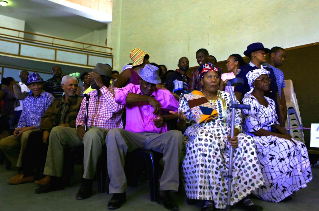 Windhoek (Namibia): Voters wait for voting at a polling station in Windhoek, capital of Namibia, Nov. 28, 2014. Polling started Friday morning for Namibia's fifth post-independence presidential and ..