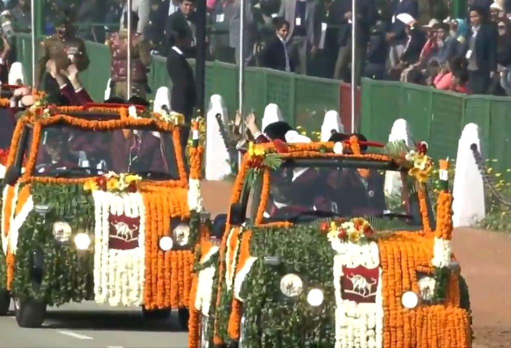 Winners of the Pradhan Mantri Rashtriya Baal Puraskar during the 71st Republic Day parade, in New Delhi on Jan 26, 2020.