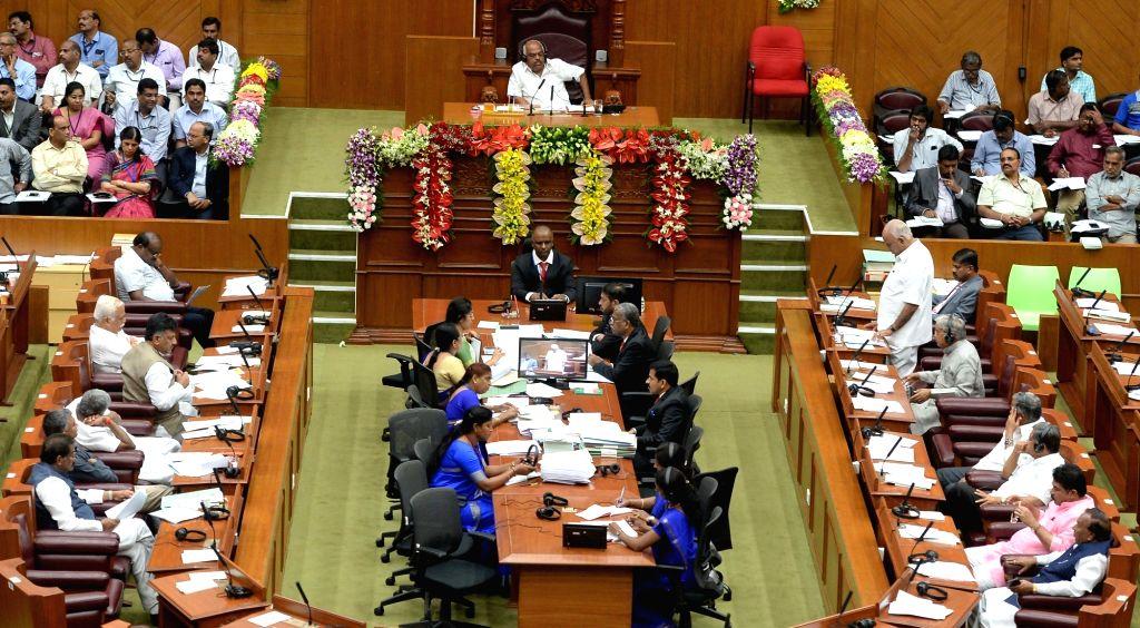 Winter session of Karnataka Assembly underway in Belagavi of Karnataka's Belgaum district on Dec 10, 2018.