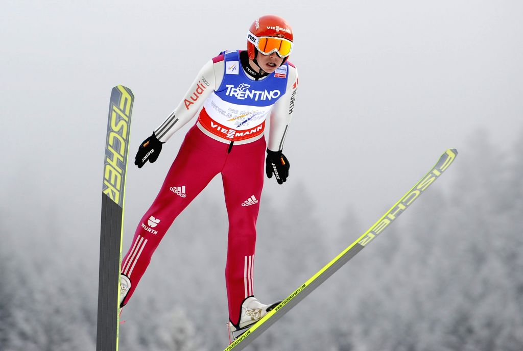 :Winter Sport, Ski Nordic, World Championships 2013, Nordic Combined, Individual Gundersen, Jumping, in Predazzo, Italy, 22 February 2013. Eric Frenzel (Germany) jumps. .
