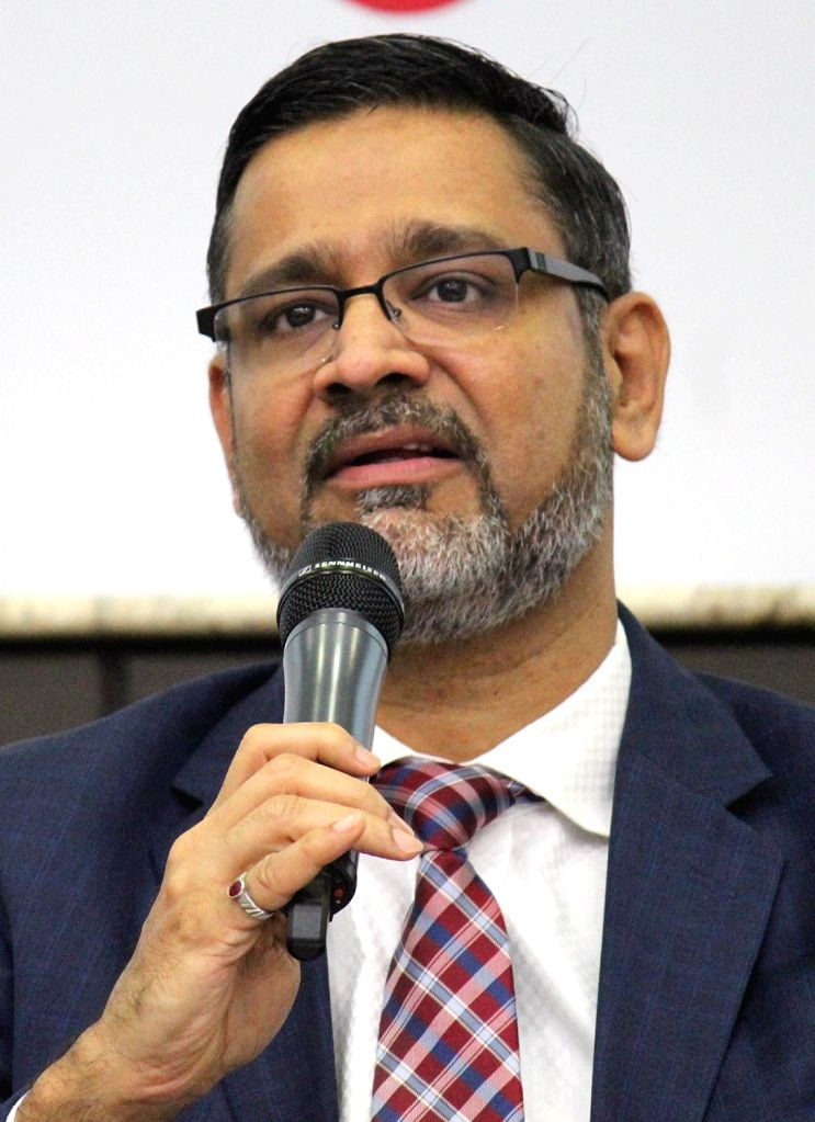 Wipro CEO Abidali Neemuchwala addresses during a press conference where the company announced financial results for the first quarter (Q1) of fiscal 2019-20, in Bengaluru on July 17, 2019.