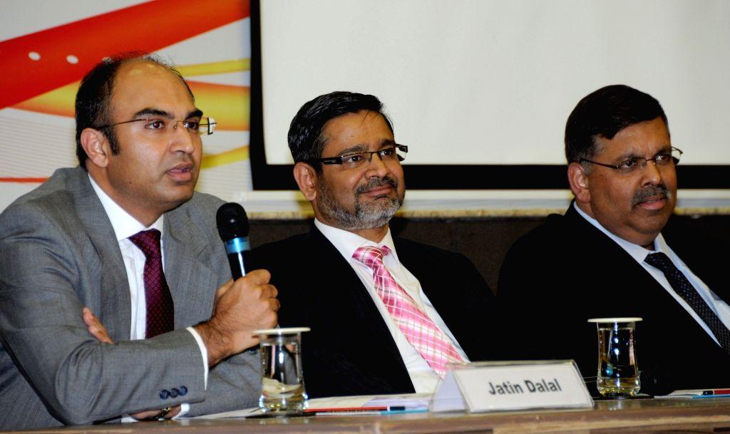 WIPRO CFO Jatin Dalal, CEO Abidali Neemuchwala and Senior Vice President and Global Head, Human Resources Saurabh Govil address a press conference in Bengaluru, on April 20, 2016.