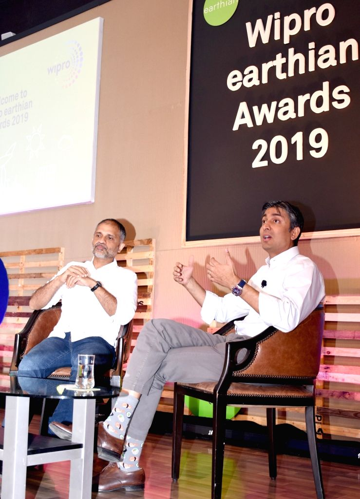 Wipro Chairman Rishad Premji accompanied by Chief Sustainability Officer Anurag Behar, addresses during 'Wipro earthian Awards 2019' at Wipro Campus, in Bengaluru on Feb 8, 2020.