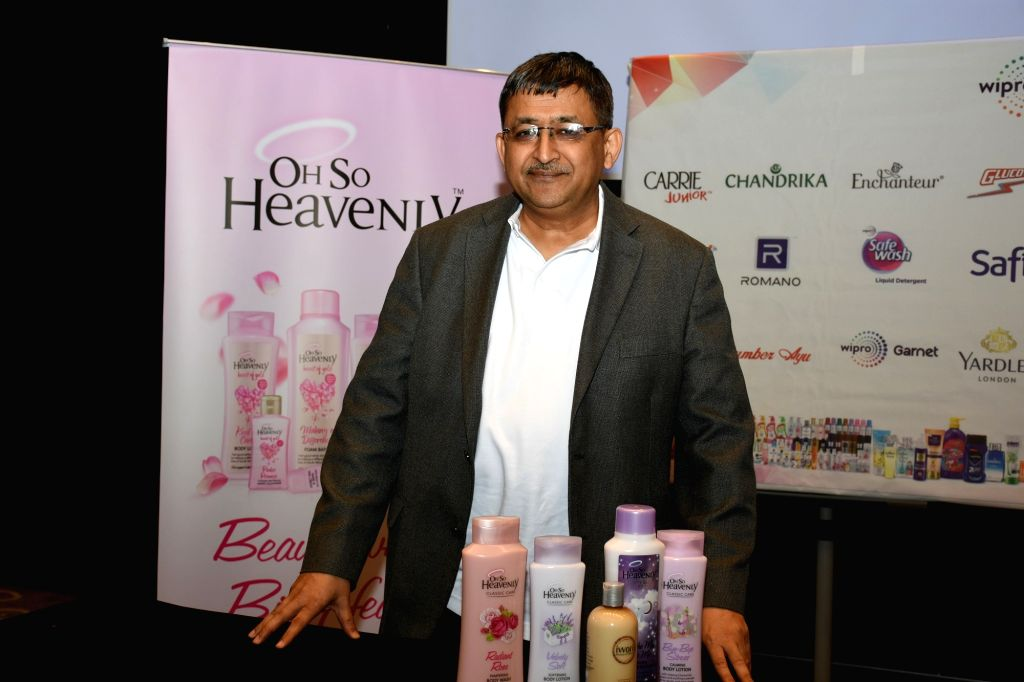 Wipro Consumer Care chief executive Vineet Agrawal presenting South African Canway products after announcing Canway's acquisition in Bengaluru on Dec 3, 2019.