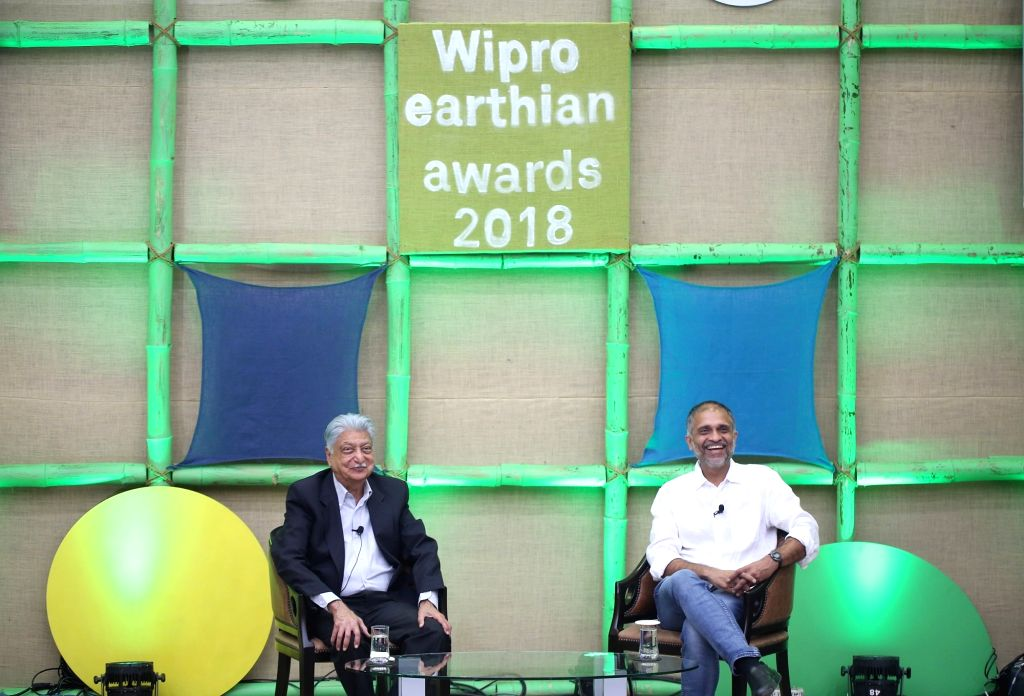 Wipro Limited Chairman Azim Premji and Chief Sustainability Officer Anurag Behar at the Wipro earthian awards 2018 in Bengaluru, on Feb 9, 2019.