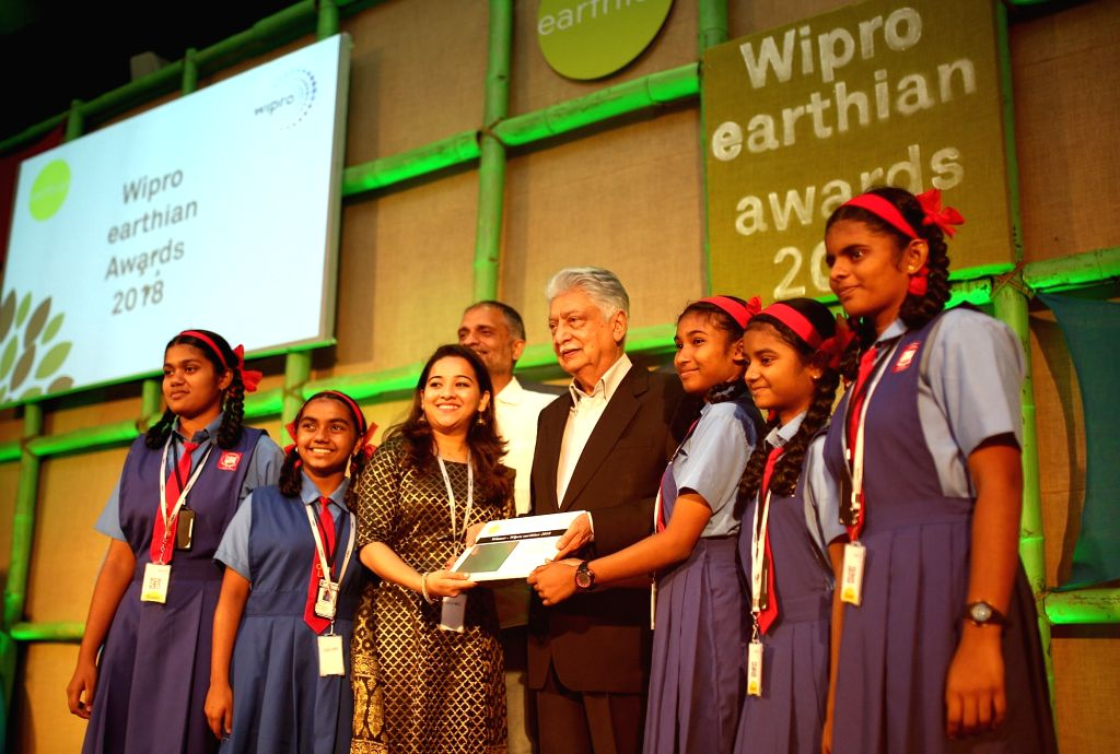 Wipro Limited Chairman Azim Premji and Chief Sustainability Officer Anurag Behar presents the Wipro earthian awards 2018 to the winners in Bengaluru, on Feb 9, 2019.
