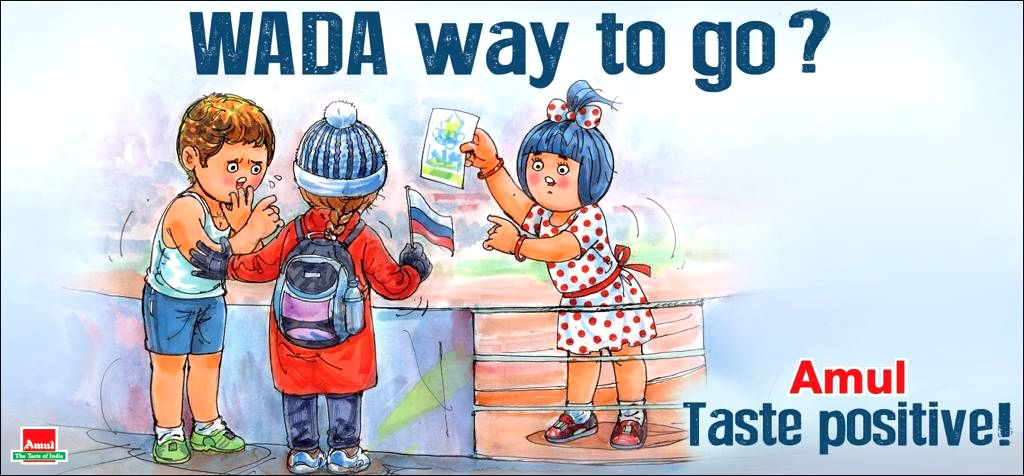 With Russia banned for four years from all major international sporting events by WADA, Amul has come up with yet another creative advertisement on a topical issue, amusing the Twitter users.