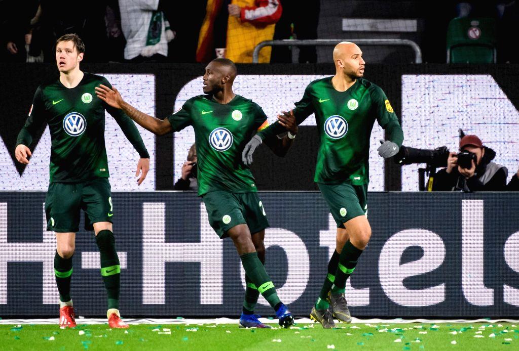 WOLFSBURG, March 4, 2019 - Wolfsburg's John Anthony Brooks (R) celebrates his scoring during a German Bundesliga match between VfL Wolfsburg and SV Werder Bremen, in Wolfsburg, Germany, on March 3, ...