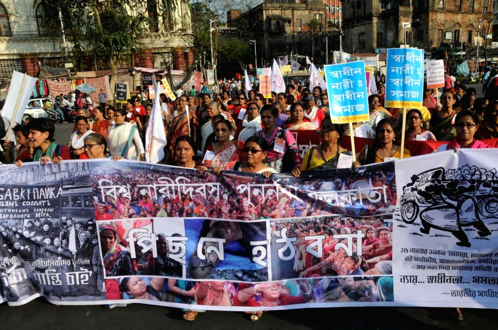 Women affiliated to various leftist organisations participate in a march organised on International Women's Day in Kolkata, on March 8, 2019.