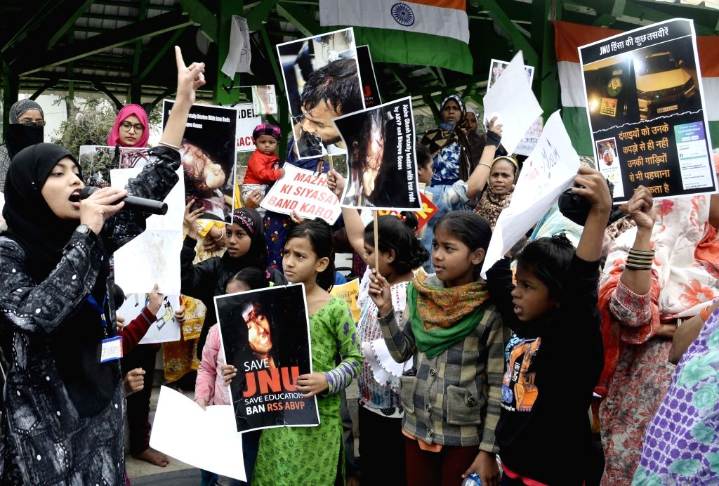 Women and children stage a demonstration against JNU violence, CAA and NRC, in Kolkata on Jan 9, 2020.