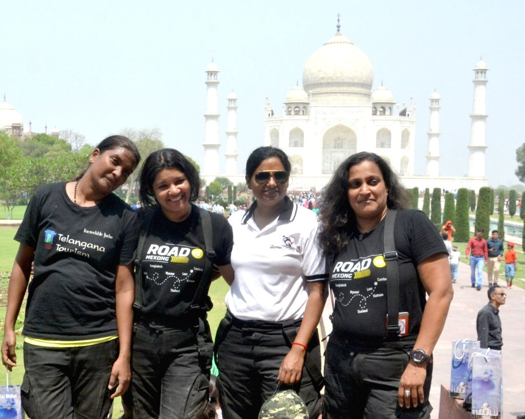 Women bikers Shilpa Balakrishnan, Jai Bharathi, Piya Bahadur and Susan Shanthi during their visit to the Taj Mahal in Agra on April 5, 2018.
