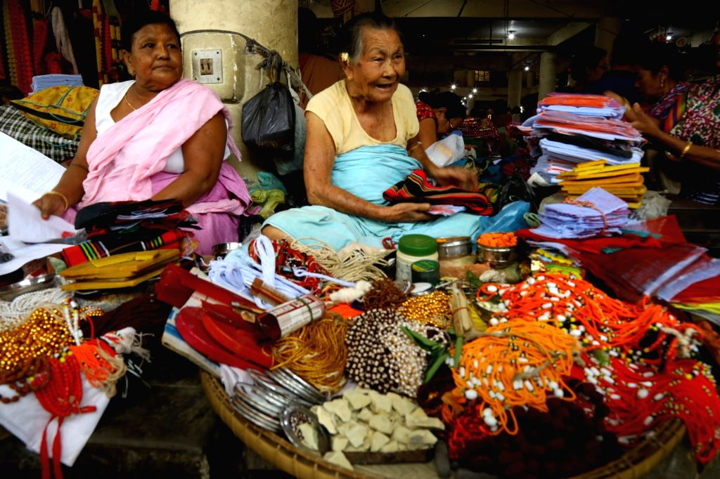 Women busy selling various commodities at the mother's market or 'Ima Keithel' in Imphal, Manipur on July 1, 2018.