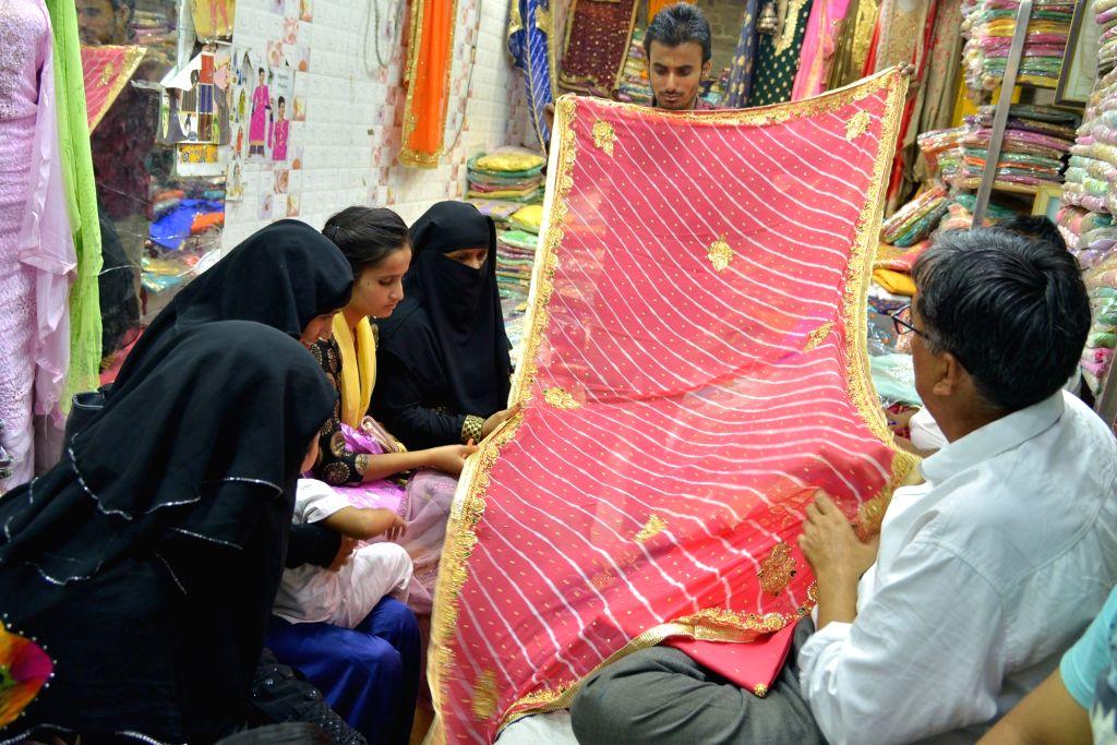 Women busy shopping ahead of Eid  in Ajmer on June 3, 2019.