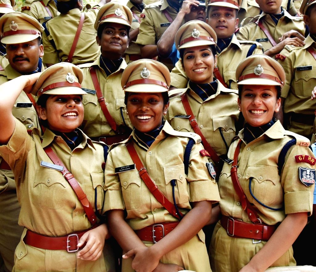 Women cadets celebrate during the Passing Out Parade at Sardar Vallabhbhai Patel National Police Academy in Hyderabad on Oct 31, 2015.