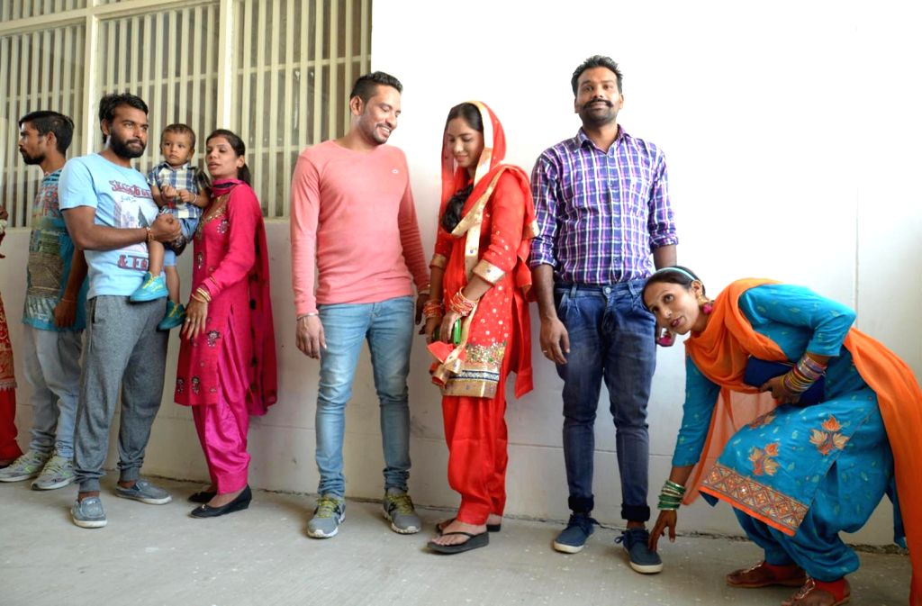 Women celebrate Karva Chauth at Amritsar Central Jail on Oct 19, 2016.