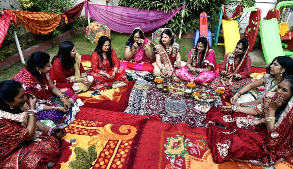 Women celebrate Karva Chauth in Ahmedabad on Oct 19, 2016.