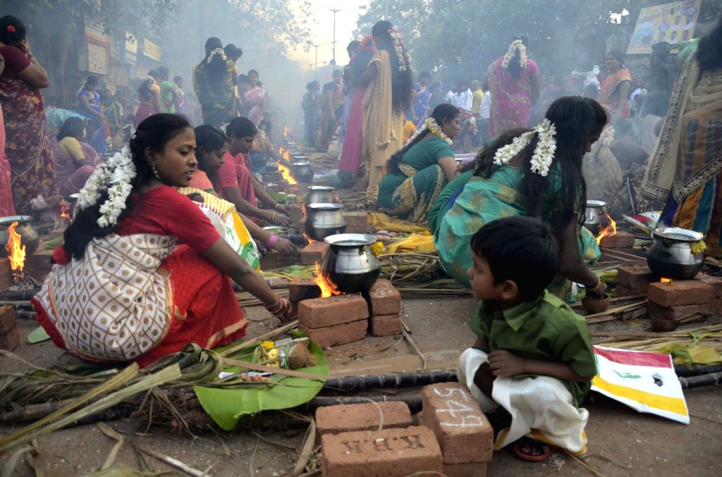 Women celebrate `Pongal` at Dharavi in Mumbai on Jan 15, 2016.