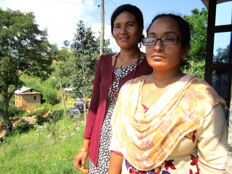 Women community leaders Nanu Ghatane (wearing specs) and Nima Lama of Dach Pokhari village in Kavrepalanchok district of Nepal. They are now empowering other villagers to adopt environmentally ...