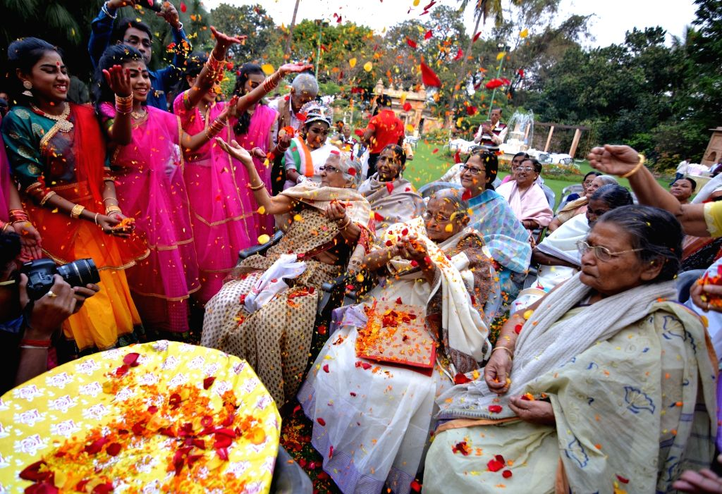 Women during a Holi celebration programme in Kolkata on March 7, 2019.