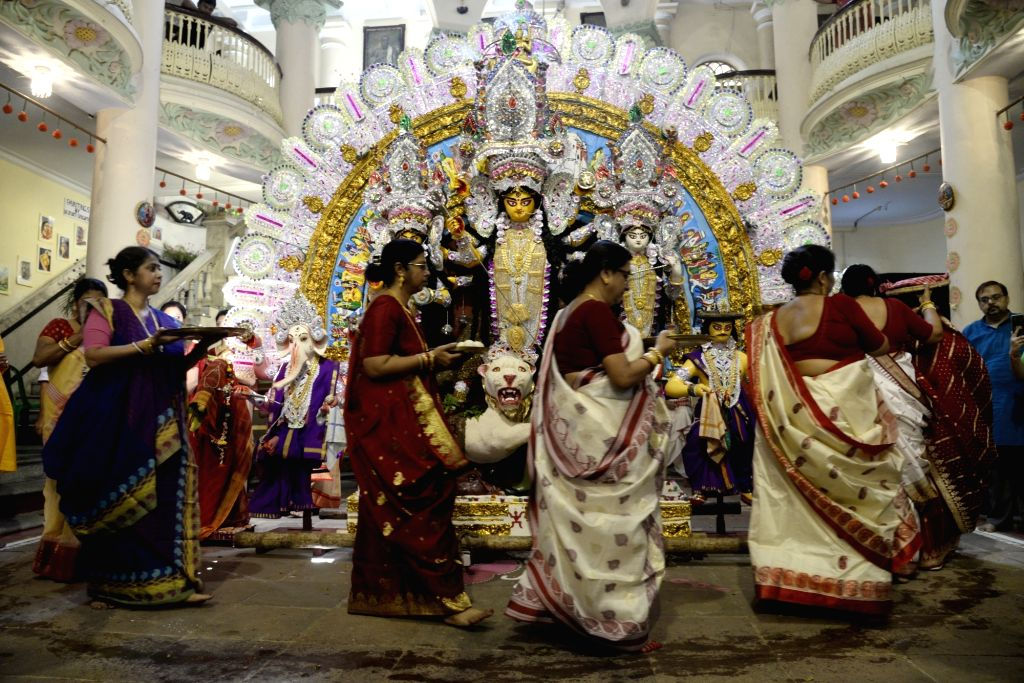 Women during Vijayadashami celebrations, in Kolkata on Oct 8, 2019.