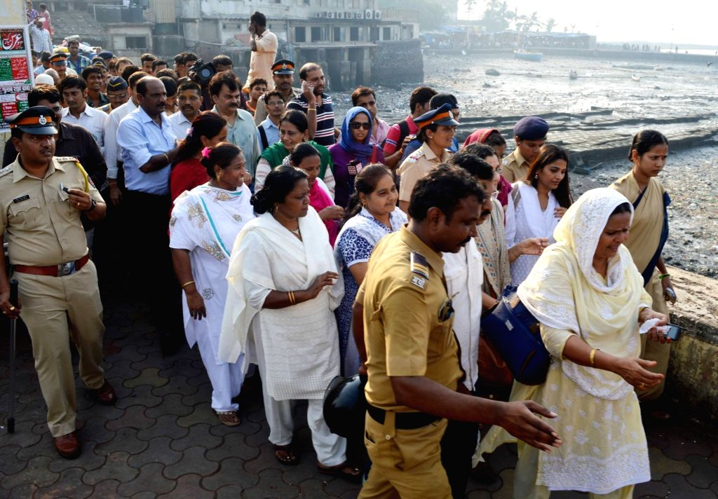 Women enter the famous Haji Ali dargah after five years and a series of legal battles and agitations in Mumbai, on Nov 29, 2016. Till June 2012, women were allowed entry up to the sanctum ...