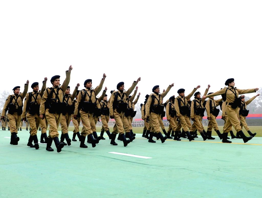 Women officers of Delhi Police Commandos march during the 72nd Raising Day Parade of Delhi Police at New Police Lines Kingsway Camp on Feb 16, 2019.