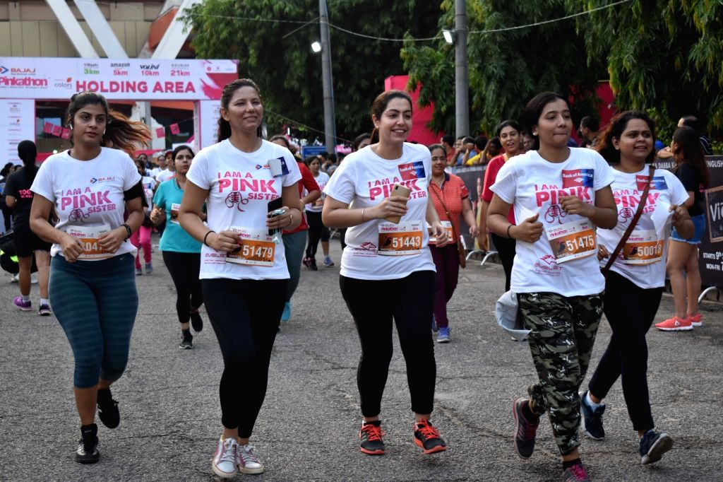 Women participate during the 7th edition of Pinkathon Delhi 2019 in New Delhi on Sep 8, 2019.