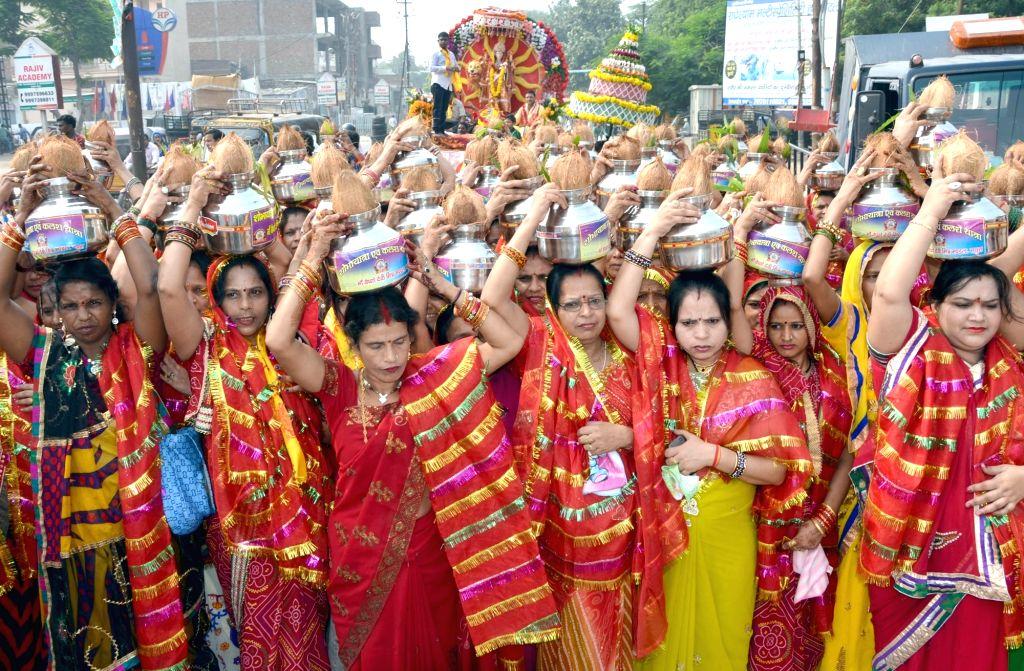 "Women participate in ""Kalash Yaatra"" during Navratri in Mathura on Oct 7, 2016."