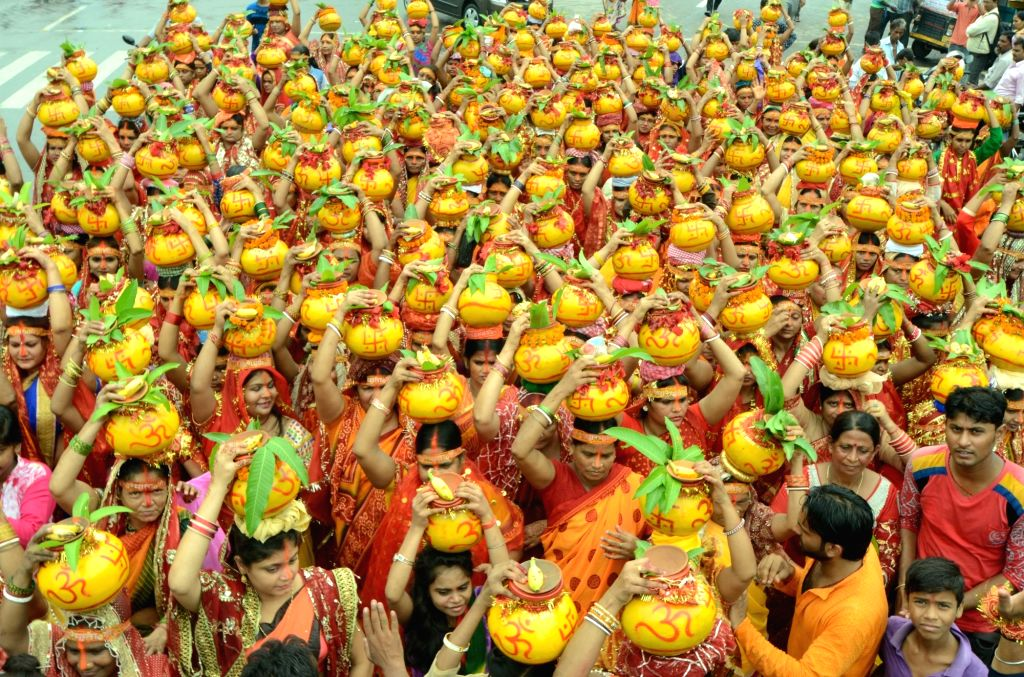 Women participate in Kalash Yatra in Patna on July 5, 2017.