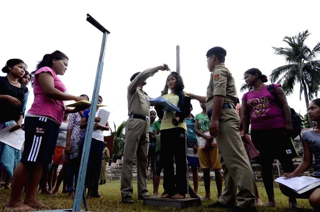 Women participate in the recruitment rally of Tripura Police in Dharmanagar, North Tripura on Aug 18, 2015.