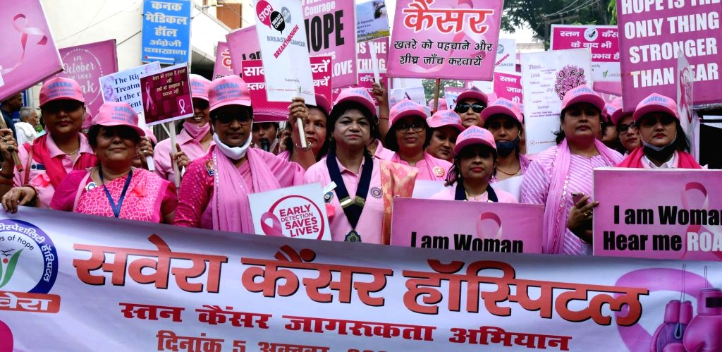 Women participated awareness rally on breast cancer in Patna on Tuesday 05,2021.