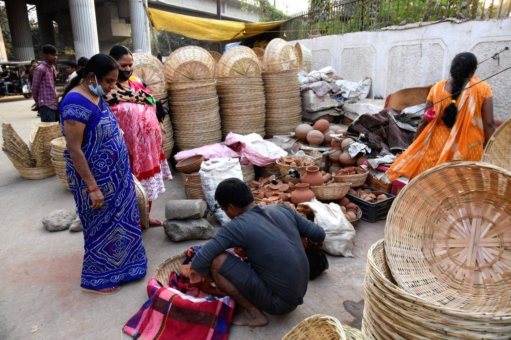 Women shopping for Chhath Pooja in Patna on November 15, 2020.