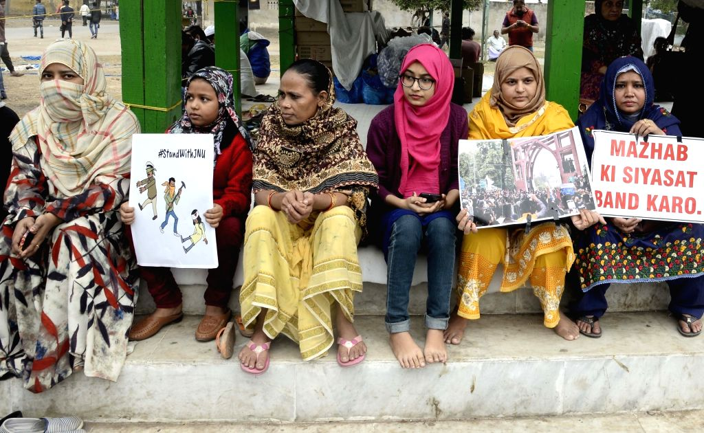 Women stage a demonstration against JNU violence, CAA and NRC, in Kolkata on Jan 9, 2020.