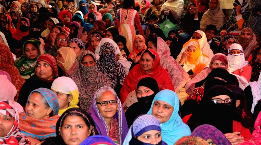 Women stage a sit-in demonstration against the Citizenship Amendment Act (CAA) 2019, National Register of Citizens (NRC) and National Population Register (NPR) at Shaheen Bagh in New Delhi ...