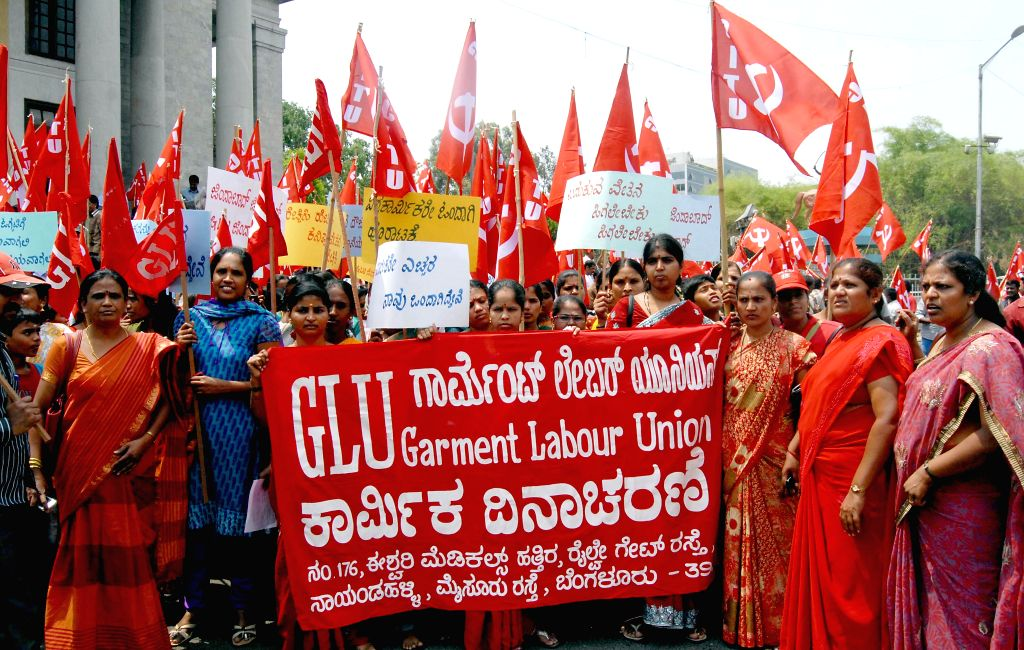 Workers affiliated to GLU participate in a rally organised on International Workers' Day in Bangalore on May 1, 2014.