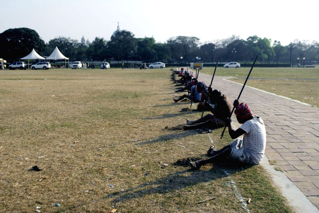 Workers at Brigade Parade Ground ahead of the Prime Minister rally in Kolkata on Wednesday 03rd March, 2021.
