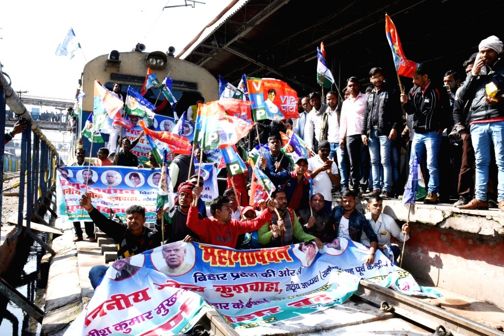 Workers of  'grand alliance' parties stage rail blockade during a statewide strike called to protest against police lathicharge on protesting Rashriya Lok Samata Party (RLSP) leaders and ... - Upendra Kushwaha