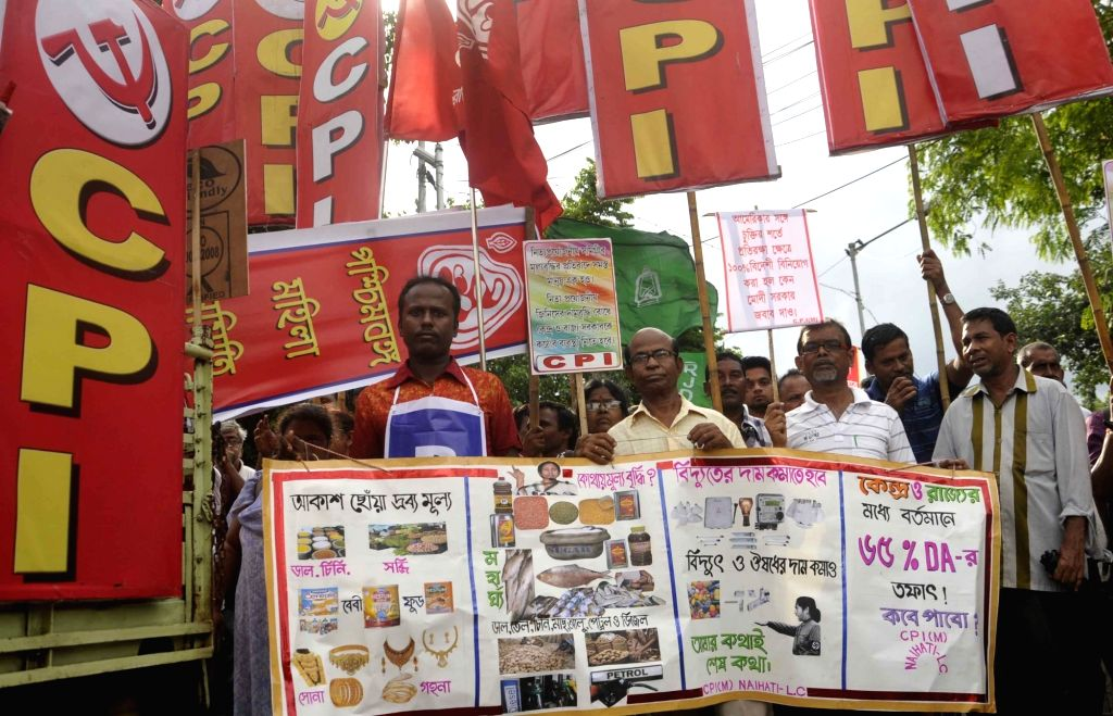 Workers of Left parties stage a demonstration against hike in prices of essential commodities in Kolkata, on July 11, 2016.