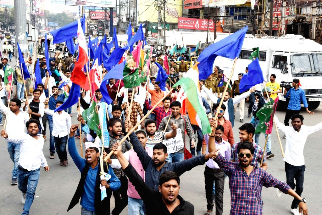 "Workers of opposition parties participate in a march organised on ""Bharat Bandh"" in Patna on March 5, 2019."