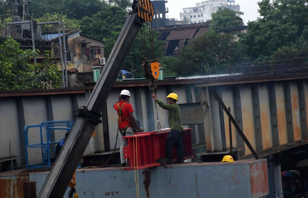 Workers were busy demolishing the incomplete Vivekananda flyover which collapsed on March 31, 2016 in Kolkata on June 16, 2021.