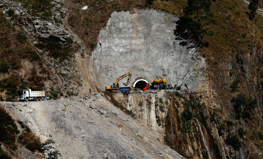 Workers work at the construction site of Rasuwagadhi Hydropower Project as it was damaged by massive earthquake of April 25 in Rasuwagadhi of Rasuwa, Nepal, Nov. 1, ...