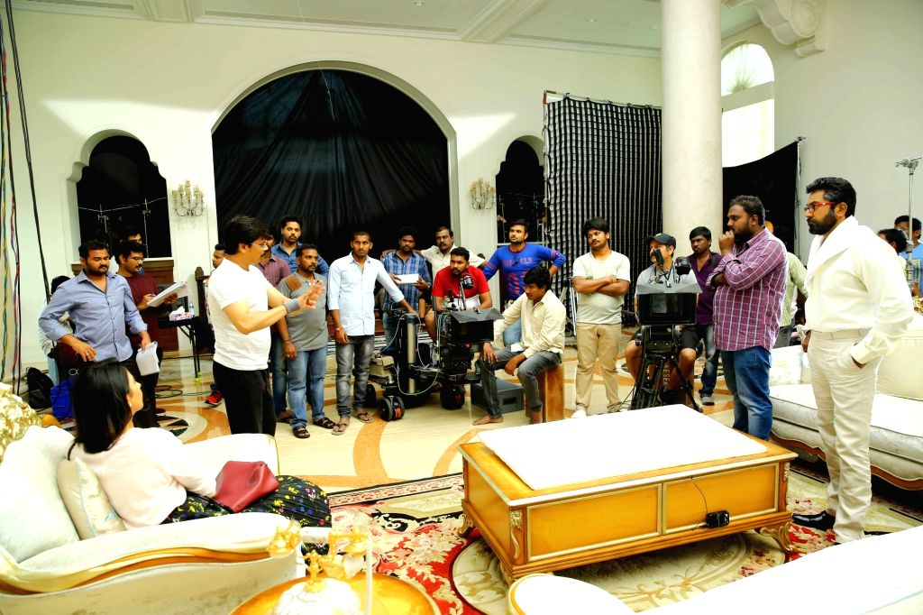 Working stills from Telugu film Jaya Janaki Nayaka in Hyderabad.